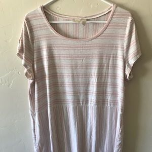 Chico's 2 Short Sleeved Stripe Scoop Neck T-Shirt